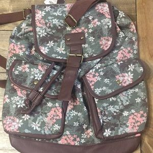 Mudd Olive Floral Backpack